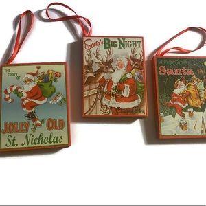 Kurt Adler 3 Wood Inch Retro Xmas Book Ornaments